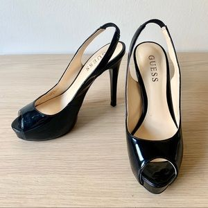 Guess Open Toe Black Heels